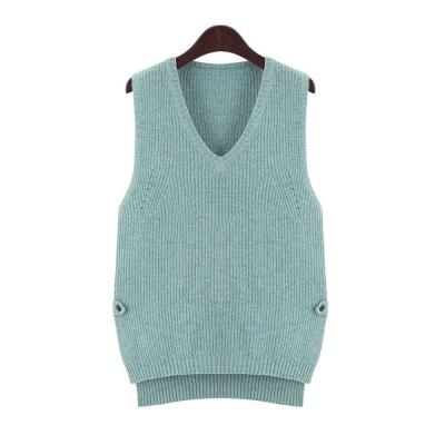 悠閒百搭羊毛混紡針織背心-綠-Belle-Pink
