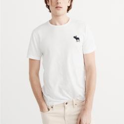 A&F 經典刺繡大麋鹿圓領素色短袖T恤-白色 AF Abercrombie
