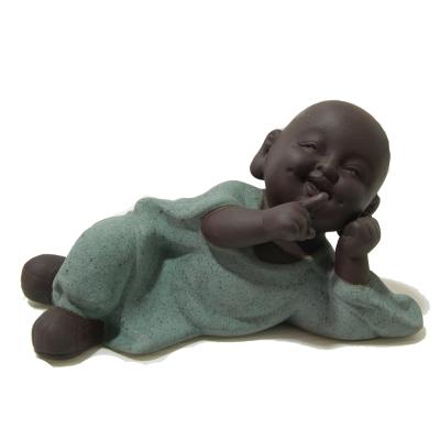 原藝坊紫沙陶瓷小沙彌茶寵--不說
