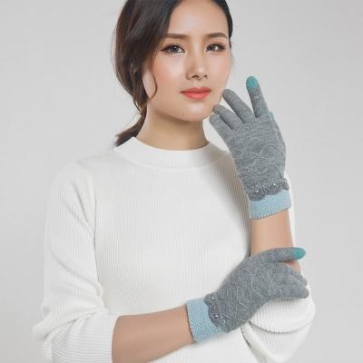 Seoul-Show-男女仿羊絨保暖針織觸控手套-女款灰色