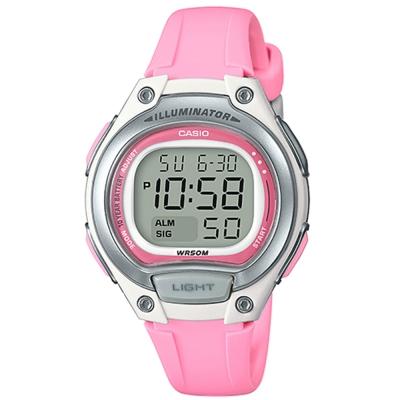 CASIO 簡約造型超實用數位休閒錶-藍框(LW-203-4A)銀x粉紅/34.6mm