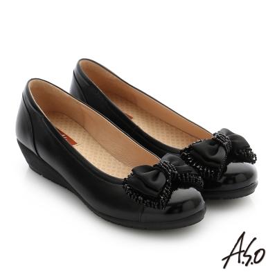 A.S.O 紓壓氣墊 真皮蝴蝶結串珠奈米低跟鞋 黑色