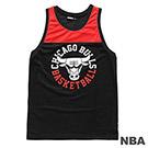 NBA-芝加哥公牛隊印花雙色長版背心-黑