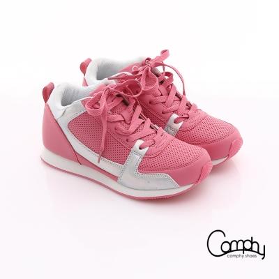 Comphy 羽量抗菌 拼接皮革綁帶內增高運動休閒鞋 粉紅
