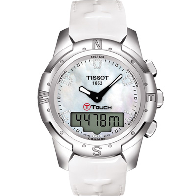 TISSOT T-TOUCH II 鈦真鑽多功能觸控錶-白貝/42.7mm