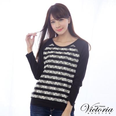Victoria 燒花條紋蕾絲拼接TEE-女-黑色