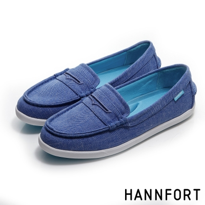HANNFORT CALIFORNIA帆布氣墊樂福鞋-女-海軍藍