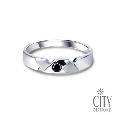 City Diamond【黑色篇章】10分黑鑽石『個性W』男鑽戒(白K)