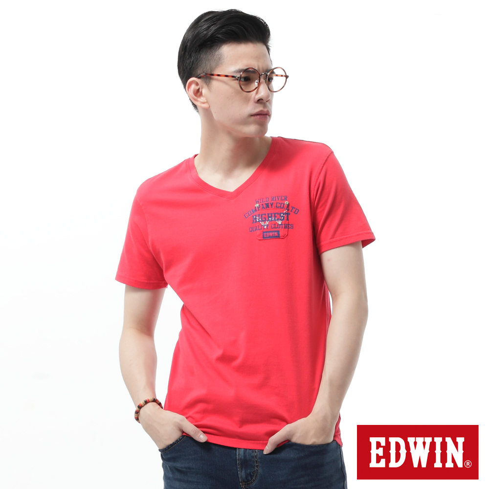 EDWIN 貼袋V領T恤-男-紅色