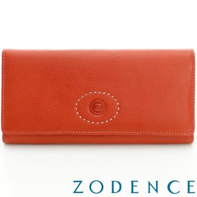 ZODENCE-巴基斯坦牛皮系列多卡層基本款長夾-橘