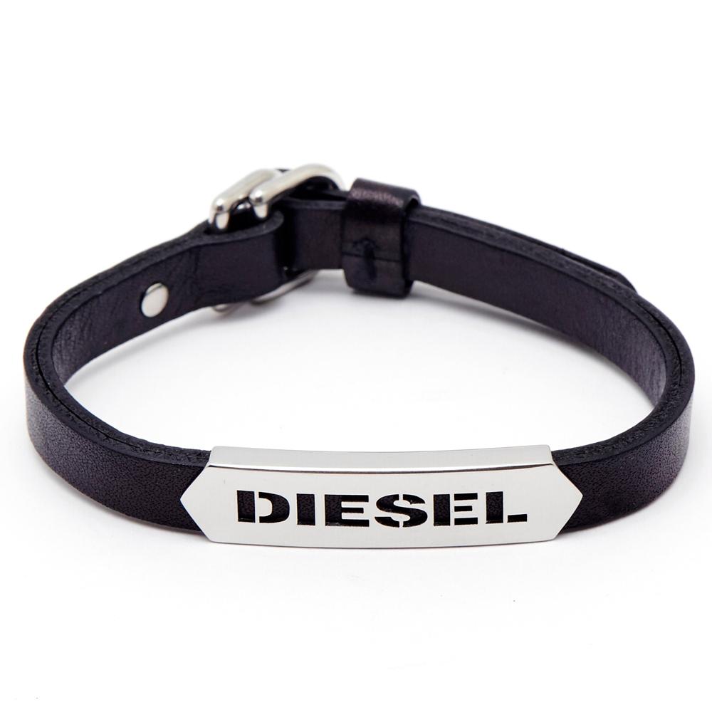 DIESEL 銀色冷冽LOGO皮革手環