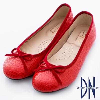 DN 優雅通勤 MIT特殊壓紋舒適娃娃鞋 紅