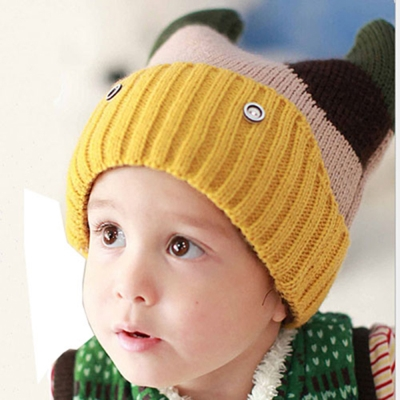韓版-小牛造型編織帽(米咖)