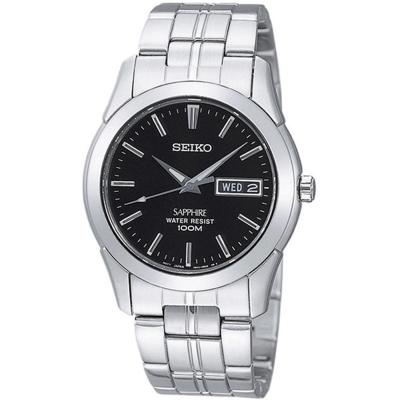 SEIKO 質感藍寶石水晶時尚腕錶(SGG715J1)-黑/35mm