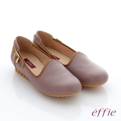 effie  彈力舒芙 真皮飾釦奈米休閒鞋 藕粉色