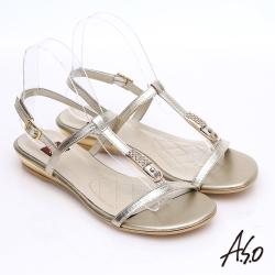 A.S.O 軟芯系列 真皮水鑽金箔細帶涼鞋 金色