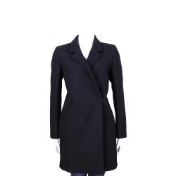 MARELLA 黑色翻領釦式設計長版大衣