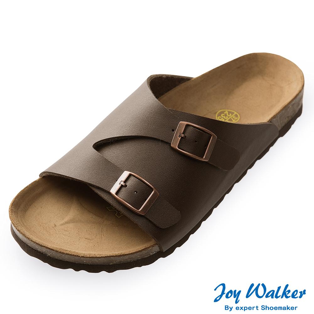 Joy Walker 素面休閒寬版拖鞋*深咖啡