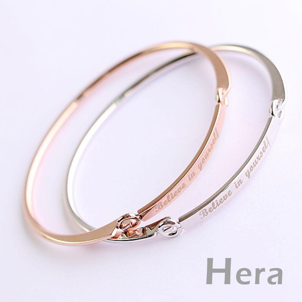 Hera赫拉  歐美圓形邊扣刻英文字母手鍊/手環/手鐲(二色)