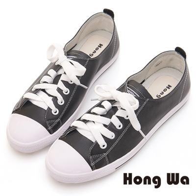 Hong Wa 率性綁帶休閒鞋 - 黑