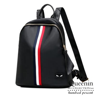 DF Queenin日韓 - 輕盈條紋風尼龍款後背包-共2色