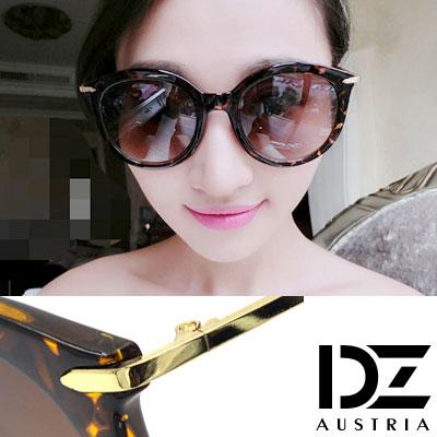 【2件59折】DZ 纖細線調 抗UV 太陽眼鏡墨鏡(花紋框漸層咖)