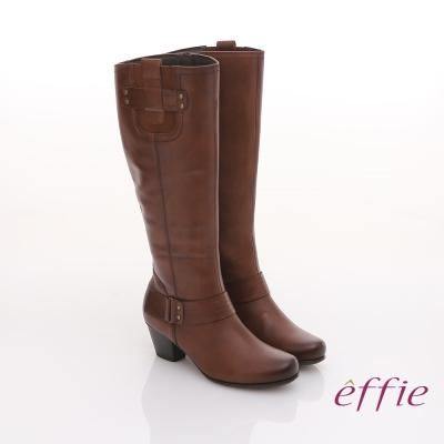 effie 城市漫遊 全真皮蠟感牛皮鬆緊帶飾長靴 茶