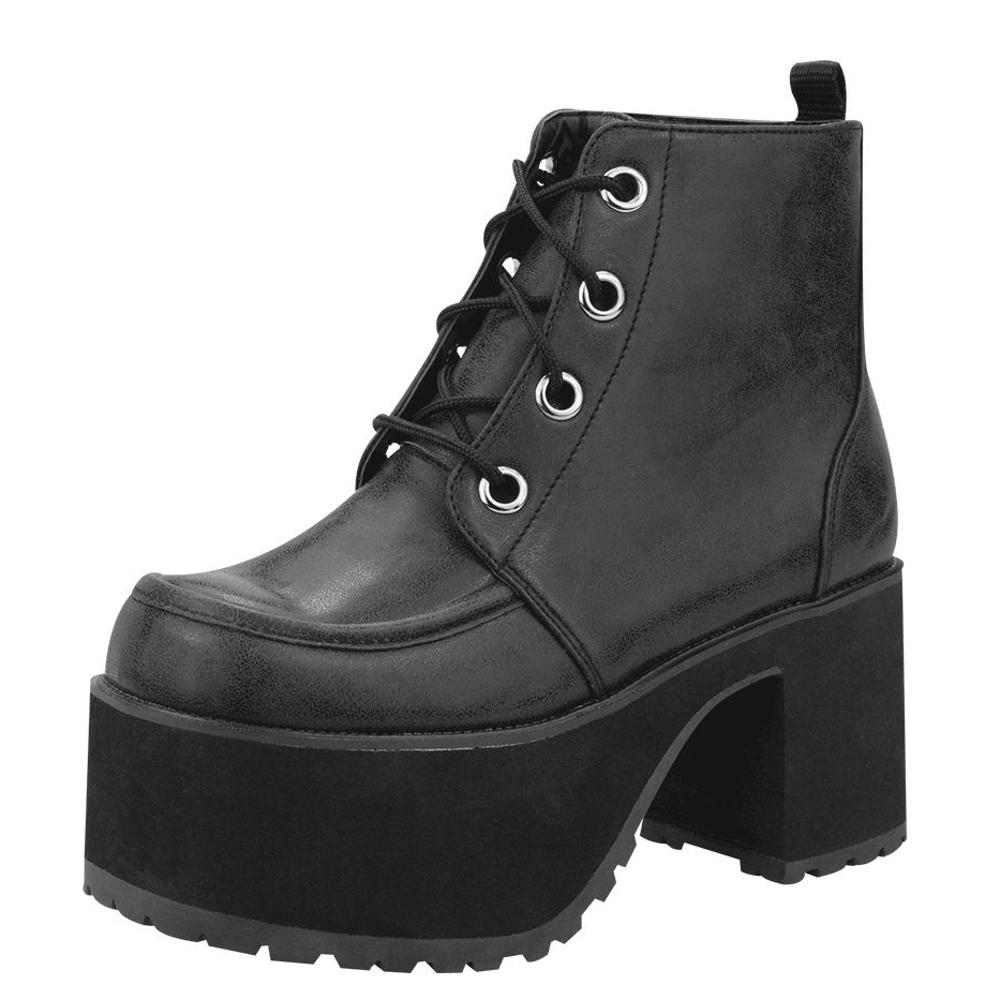 TUK經典AGOGO粗跟短靴-黑