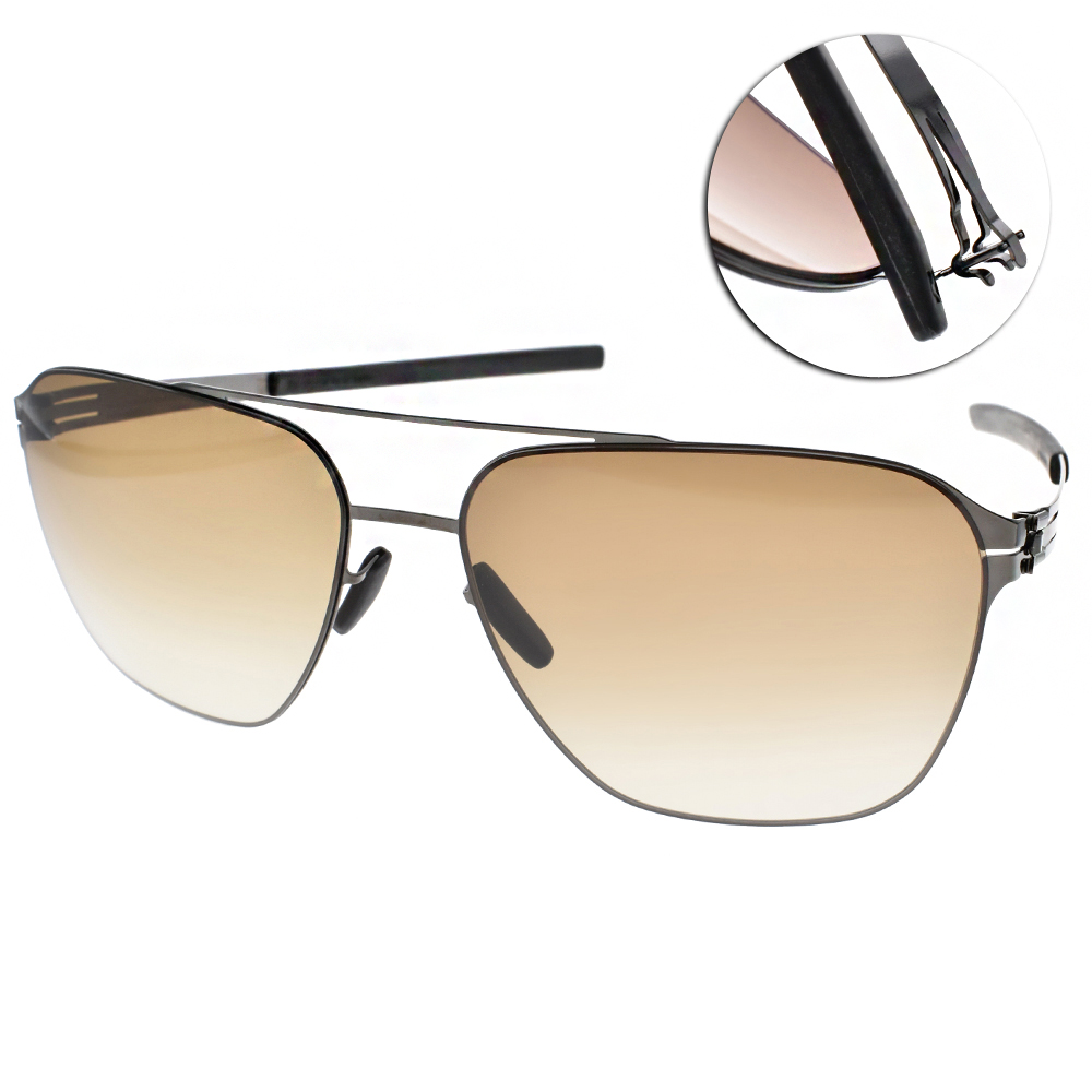 ic!berlin太陽眼鏡 薄鋼雙槓款/槍銀#JONATHAN I. GUN METAL
