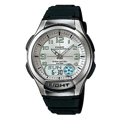 CASIO 經典雙顯多功能運動手錶(AQ-180W-7B)-白面/47.9mm