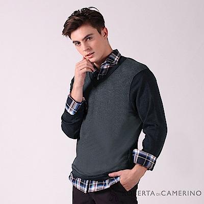 ROBERTA諾貝達 進口素材 台灣製 舒服柔軟 千鳥格紋羊毛衣 深藍