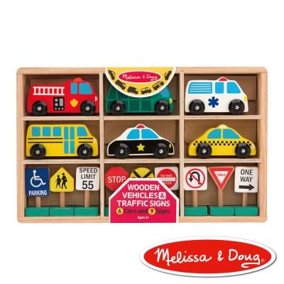 美國瑪莉莎 Melissa & Doug 木製交通工具 - 交通號誌汽車玩具