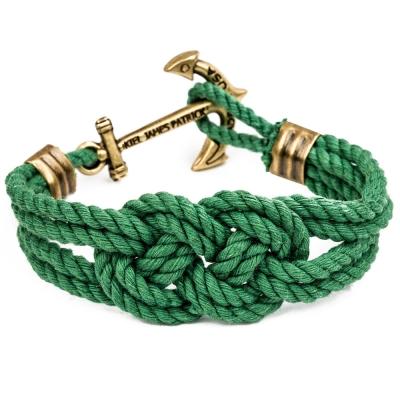 Kiel James Patrick 美國手工船錨棉麻繩結手環 綠色卡里克結編織