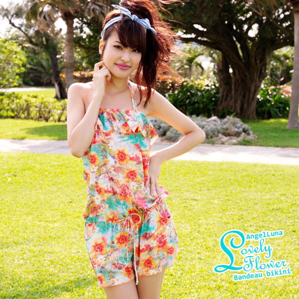 【AngelLuna日本泳裝】印花平口三件式比基尼泳衣-橘色連身褲