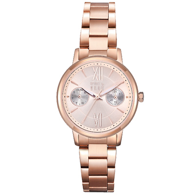 ELLE 羅馬時標時尚手錶-玫瑰金/30mm