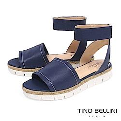 Tino Bellini巴西進口寬帶繫踝麻編厚底涼鞋_ 藍