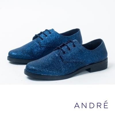 ANDRE-中性雅痞牛津平底鞋-亮眼藍