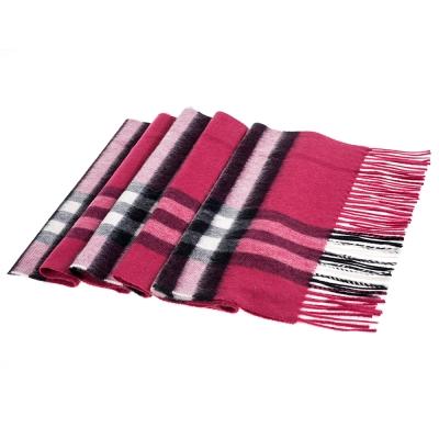 BURBERRY 格紋經典喀什米爾圍巾(茜洋紅粉色/168X30)