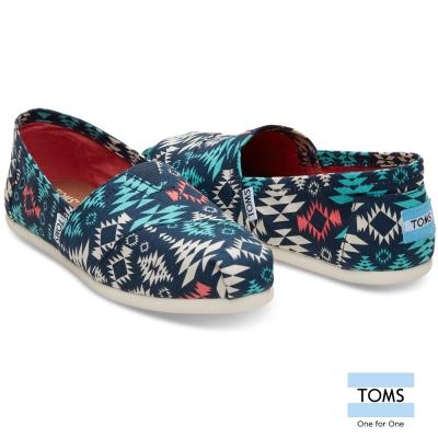 TOMS 圖騰帆布懶人鞋-女款