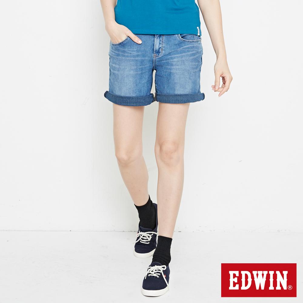 EDWIN 迦績褲 快乾五分牛仔短褲-女-石洗藍