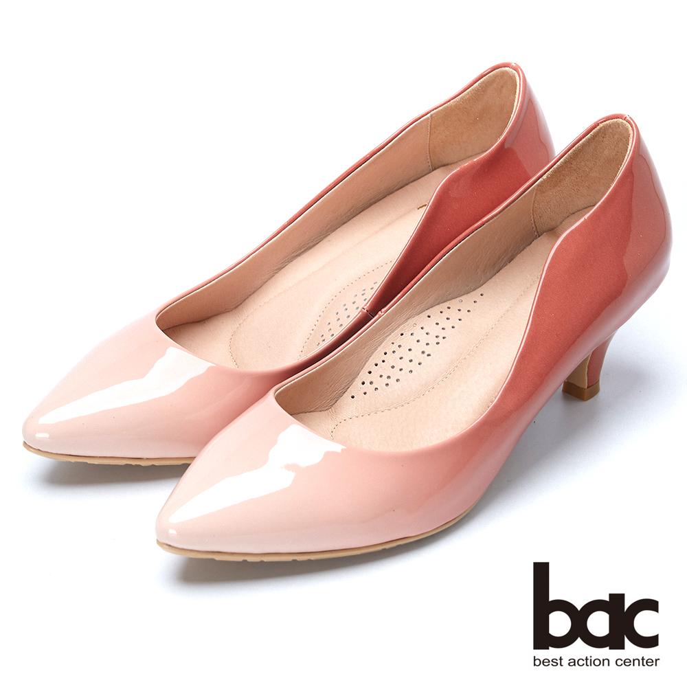 bac粉領時尚 柔美漸層微尖頭高跟鞋-粉紅漸層