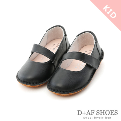 D+AF (童)粉彩童真.MIT真皮平底瑪莉珍童鞋*黑