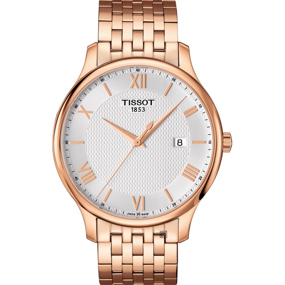 TISSOT天梭 Tradition 駿雅系列羅馬石英錶-銀x玫瑰金/42mm