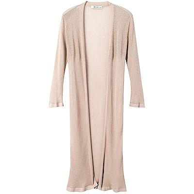 細針織純色長版開襟外套-OB大尺碼