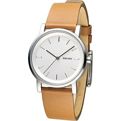 DKNY 臻致完美 女錶 NY2339 ~白 棕色帶 34mm