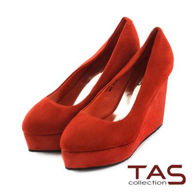 TAS-素面麂皮幾何金屬後跟楔型鞋-夕陽橘