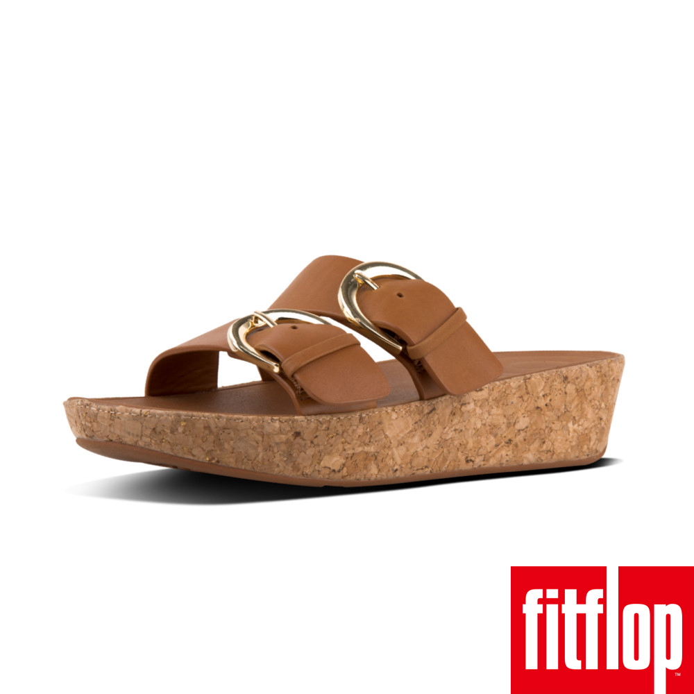 FitFlop DUO-BUCKLE SLIDE SANDALS焦糖