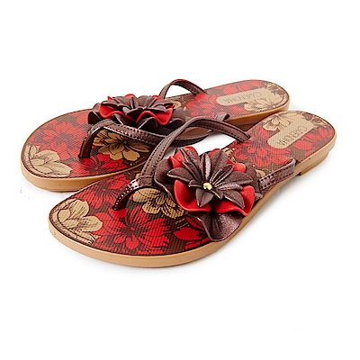 GRENDHA 南洋風花漾時尚夾腳鞋-古銅金