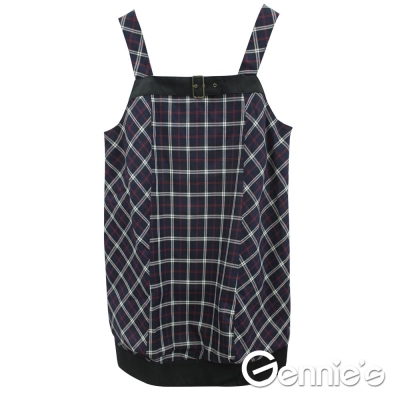 【Gennies奇妮】時尚經典格紋秋冬孕婦長版背心上衣(C3451)可挑選
