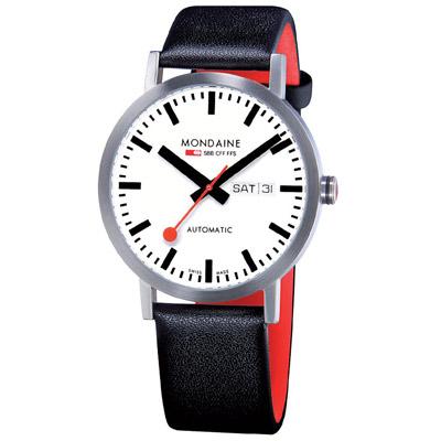 MONDAINE 瑞士國鐵藍寶石水晶大視窗平面機械錶-40mm